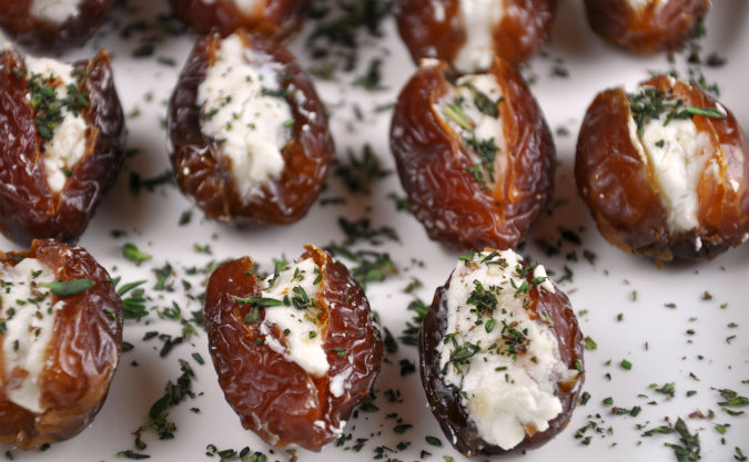 Dried Dates Stuffed with Goat Cheese and Almonds