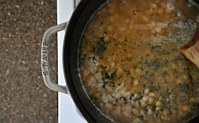 Creamy Two-Bean Soup with Spinach, Rosemary, and Thyme