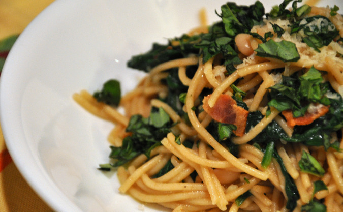 Spaghetti with white beans, spinach, and bacon