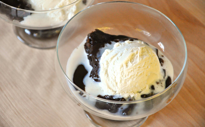 Slow Cooker Gooey Chocolate Spoon Cake with Hot Fudge Sauce